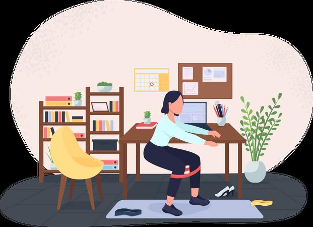 Workout break at workplace Illustration