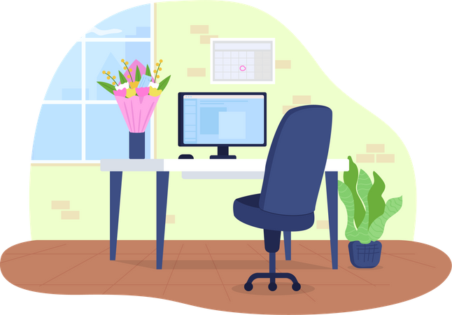 Workplace with flowers in vase Illustration