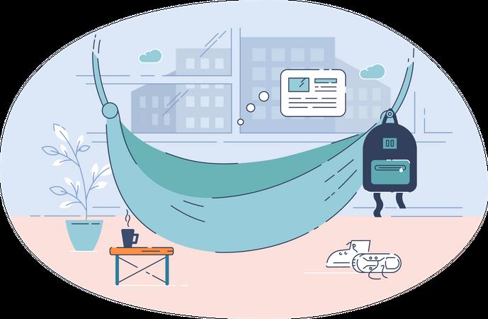 Workspace of freelancer Illustration