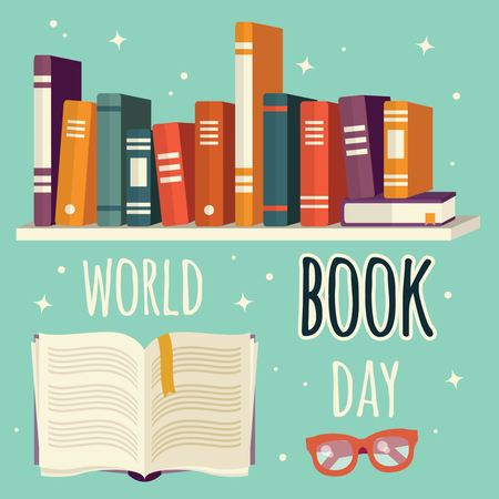 World book day, books on shelf and open book with glasses Illustration