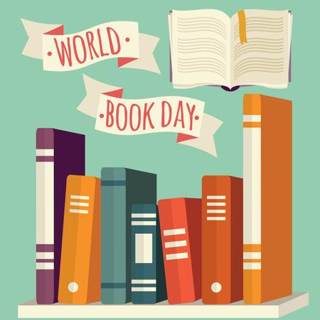 World book day, books on shelf with festive banner Illustration