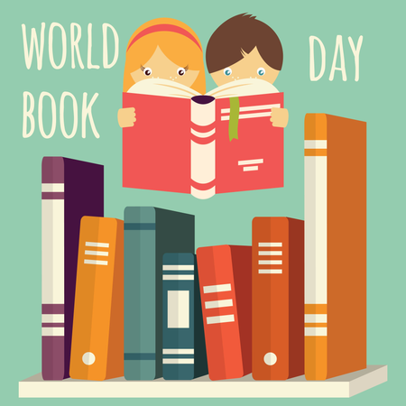 World book day, girl and boy reading with stack of books on a shelf Illustration