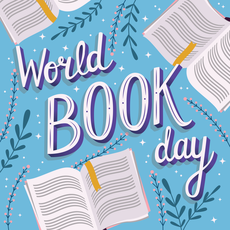 World book day, hand lettering typography modern poster design with open books Illustration