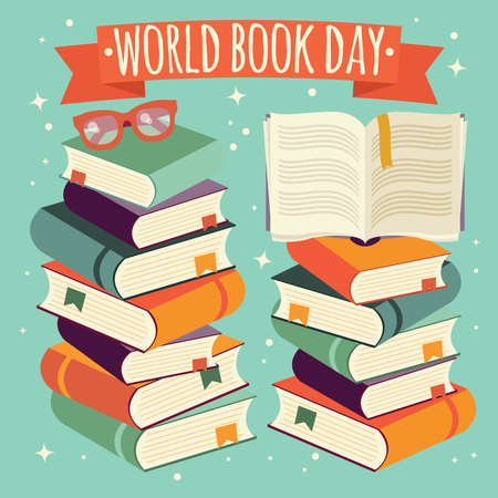 World book day, open book on stack of books with glasses on mint background Illustration