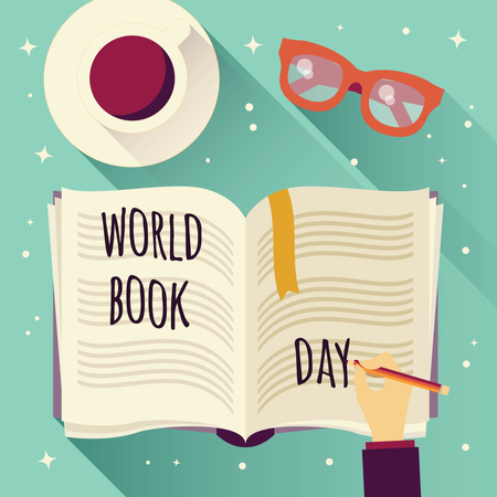 World book day, open book with a hand writing, coffee cup and glasses Illustration