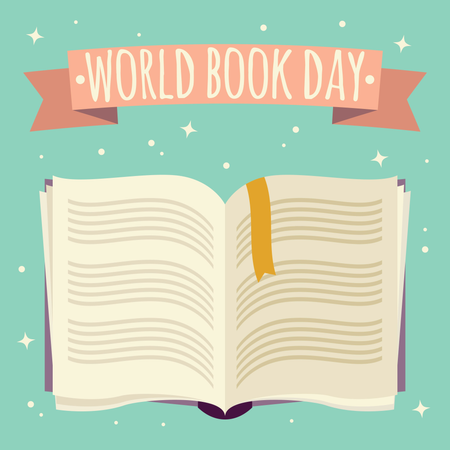 World book day, open book with festive banner Illustration
