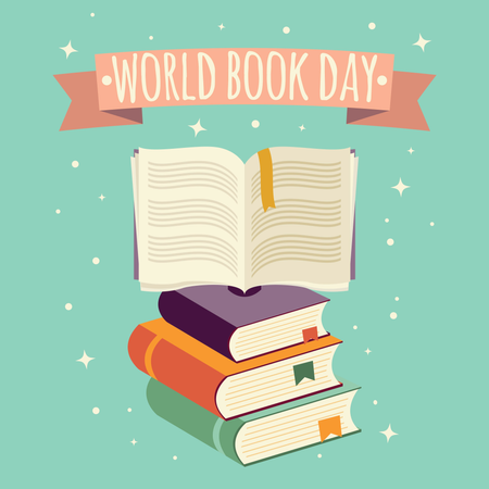 World book day, open book with festive banner and stack of books Illustration