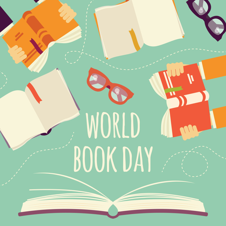 World book day, open book with hands holding books and glasses Illustration
