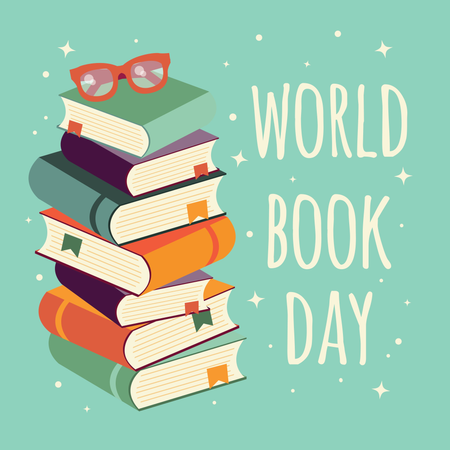 World book day, stack of books with glasses on mint background Illustration