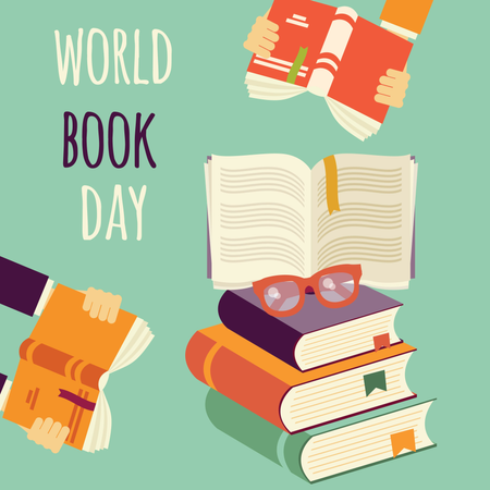 World book day, stack of books with hands and glasses Illustration