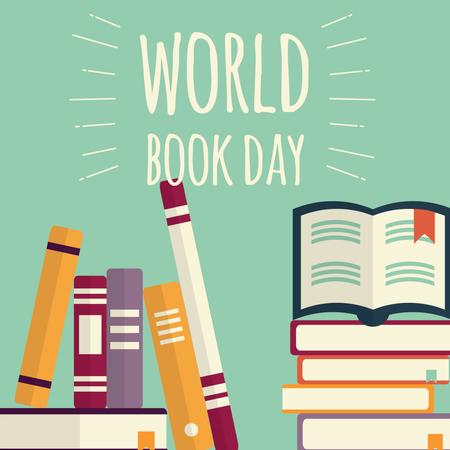 World book day, stacks of books on mint background Illustration