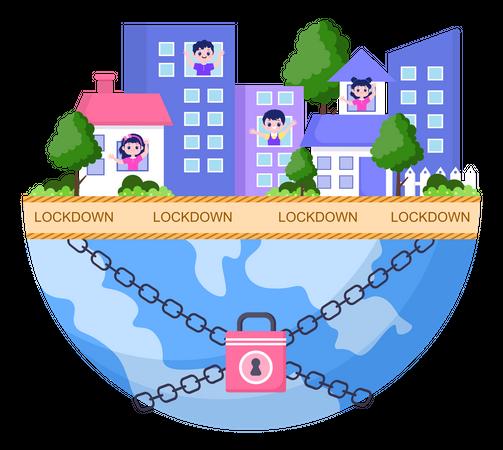 World In Corona Lockdown Illustration