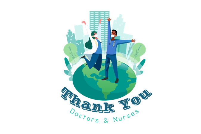 World saying thank you to doctors and nurses Illustration