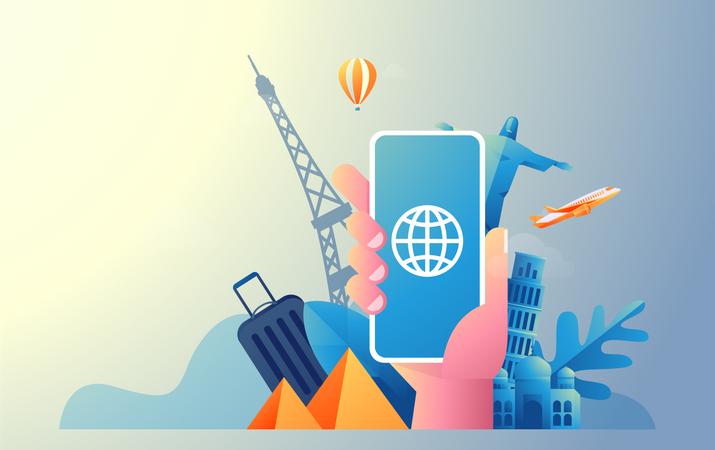 World tour booking on mobile Illustration