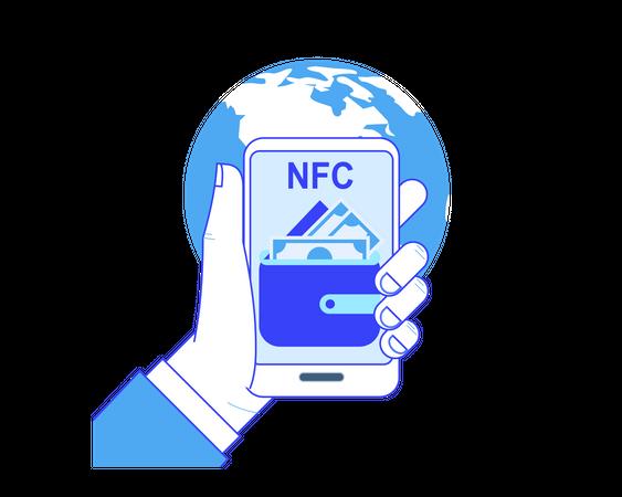 Worldwide level Near-field communication and online money transfer Illustration