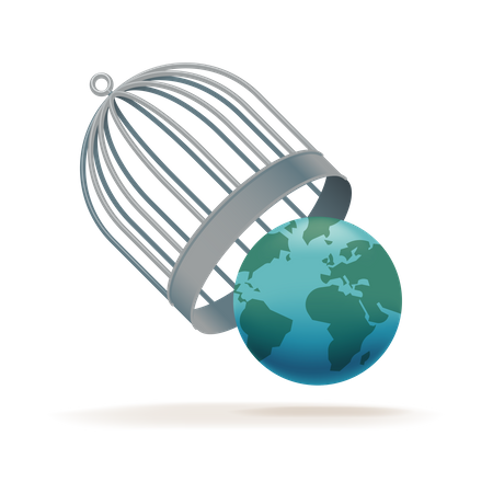 Worldwide quarantine end with Earth globe being released from birdcage Illustration