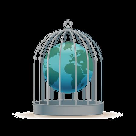 Worldwide quarantine with Earth globe locked in birdcage Illustration
