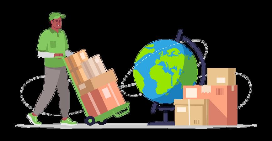 Worldwide shipping service Illustration