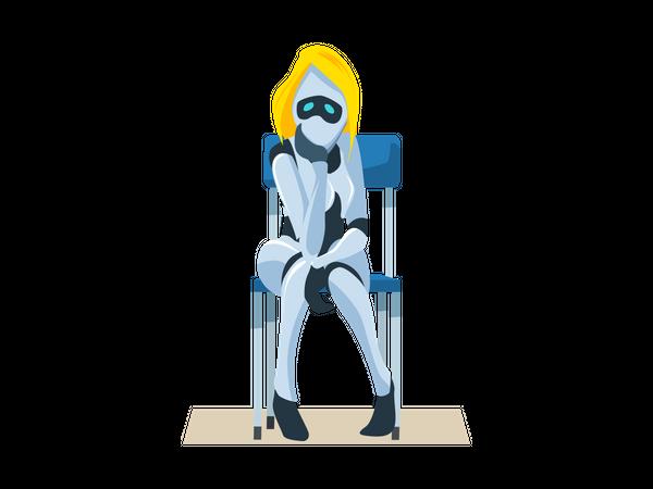 Worried Female Robot sitting on Chair Illustration