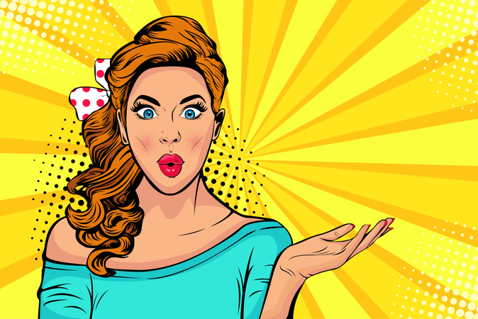 Wow pop art face of surprised fashion girl open mouth Illustration