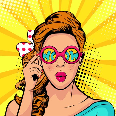 Wow pop art face of surprised woman open mouth holding sunglasses in her hand with inscription wow in reflection Illustration