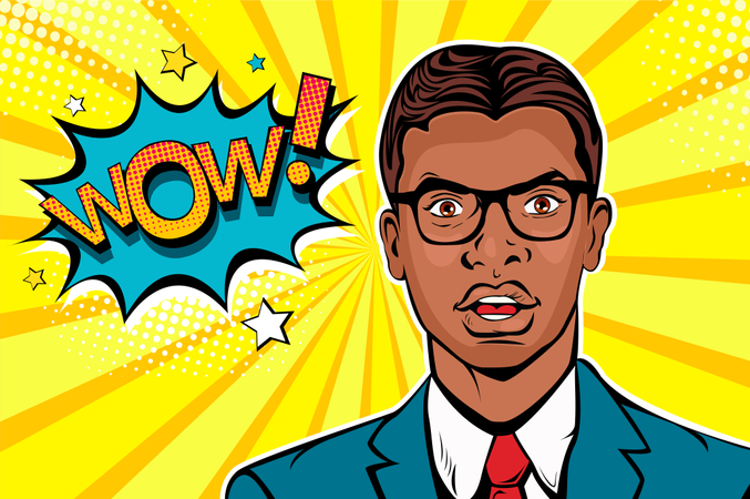 Wow pop art male face. Young afro american surprised man in glasses with open mouth and Wow speech bubble Illustration
