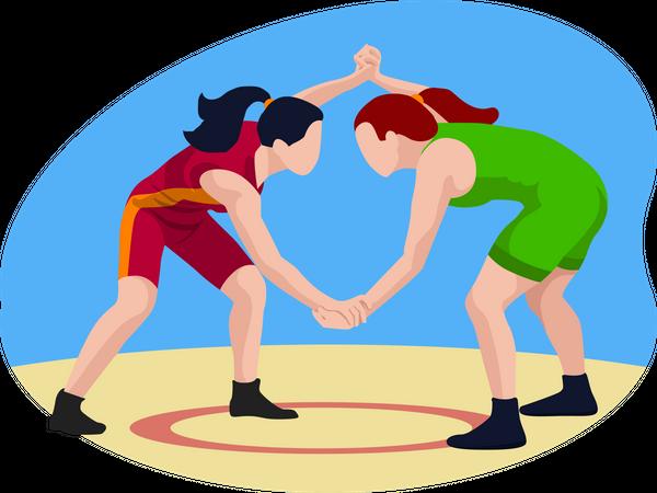 Wrestling Match Illustration