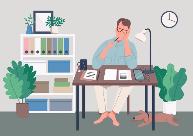 Writer at home Illustration