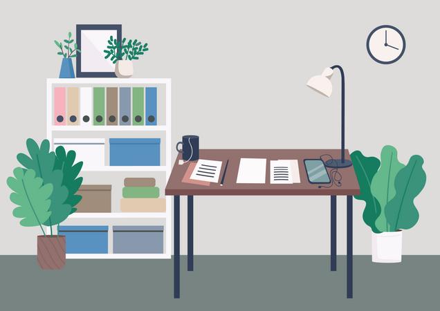 Writer workplace Illustration