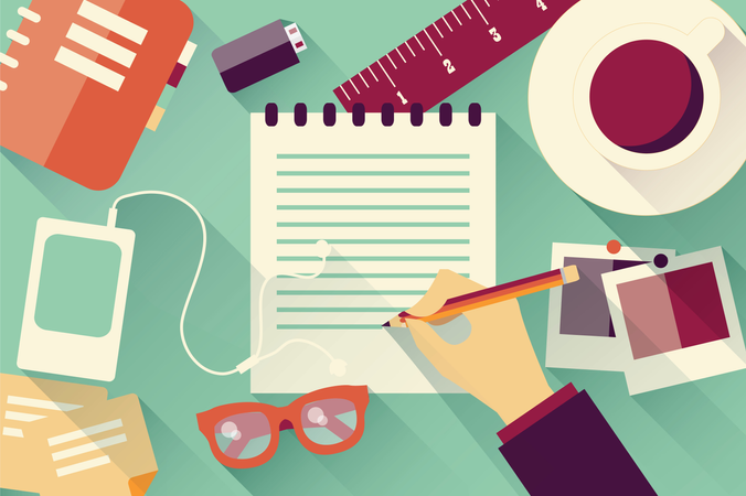 Writing into notebook background with coffee, photos, glasses and flash drive, Illustration