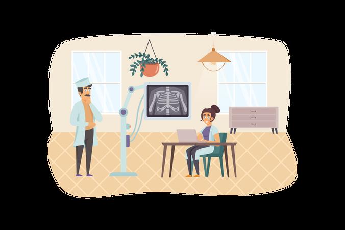X-ray medical diagnostics Illustration