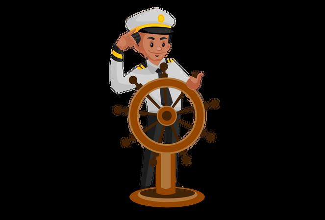 Yachtsman turning the ship using steering wheel Illustration