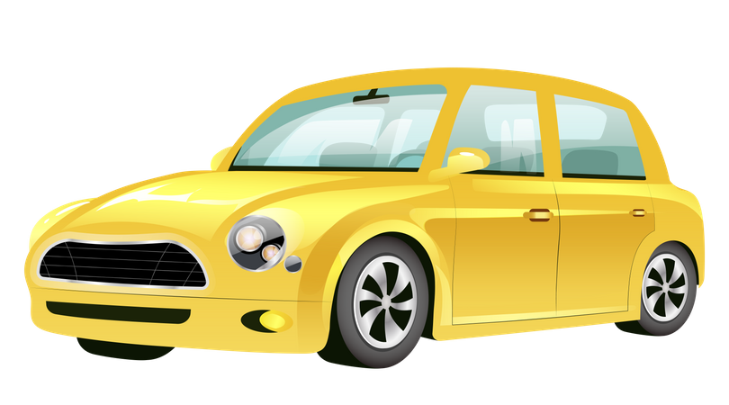 Yellow Mini Cooper Car Illustration