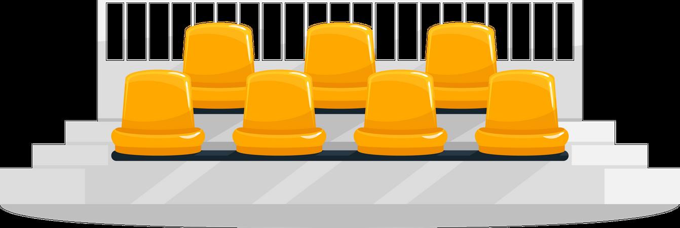Yellow stadium seats Illustration