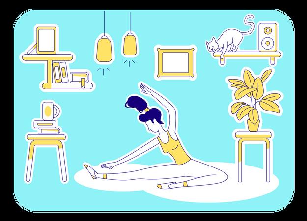 Yoga at home Illustration