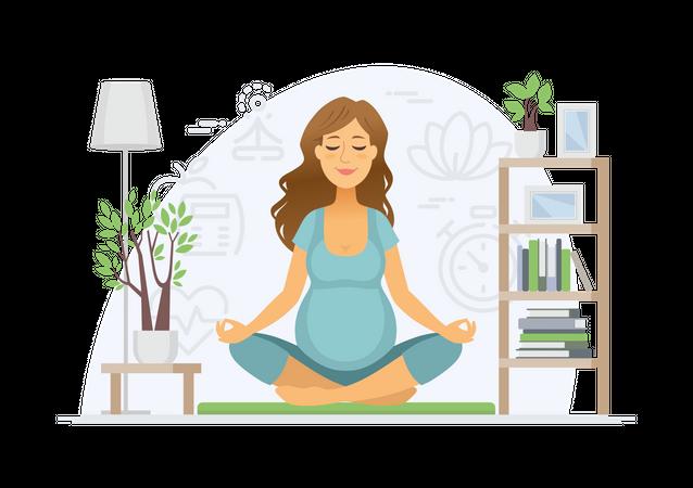 Yoga during pregnancy Illustration
