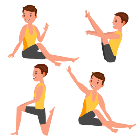 Yoga Male In Different Poses Illustration