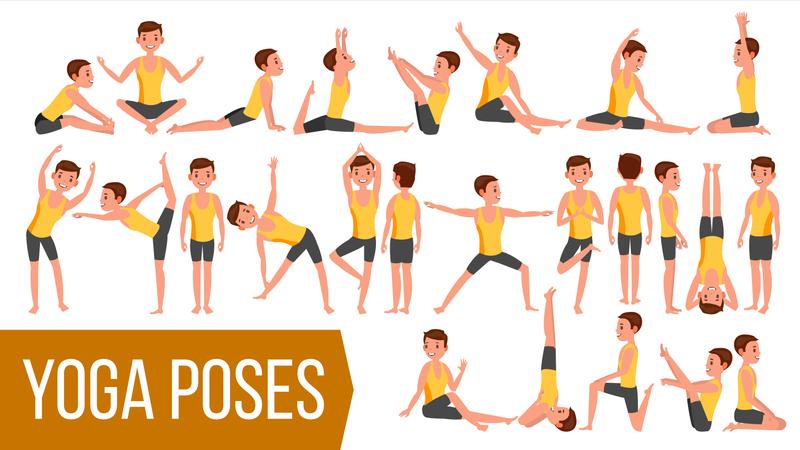 Yoga Man Poses Illustration
