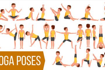 Yoga Man, Woman Vector Illustration Pack