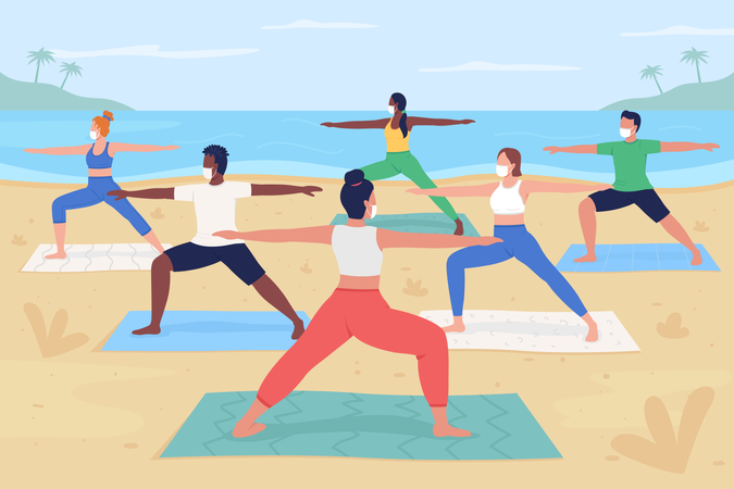 Yoga retreat during pandemic Illustration