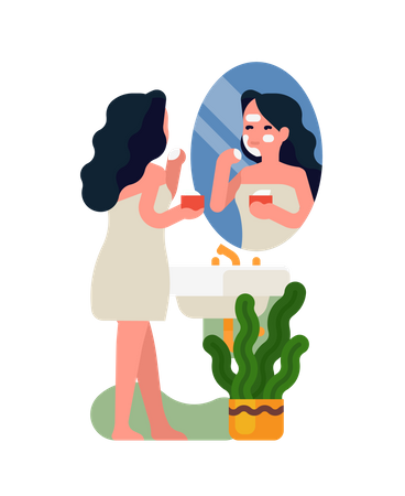 Young adult woman is putting skincare product on her face standing wrapped in bath towel in front of bathroom mirror Illustration