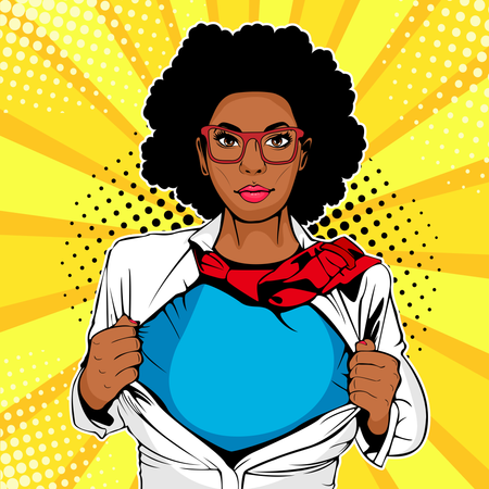 Young afro woman dressed in white jacket shows superhero t-shirt Illustration
