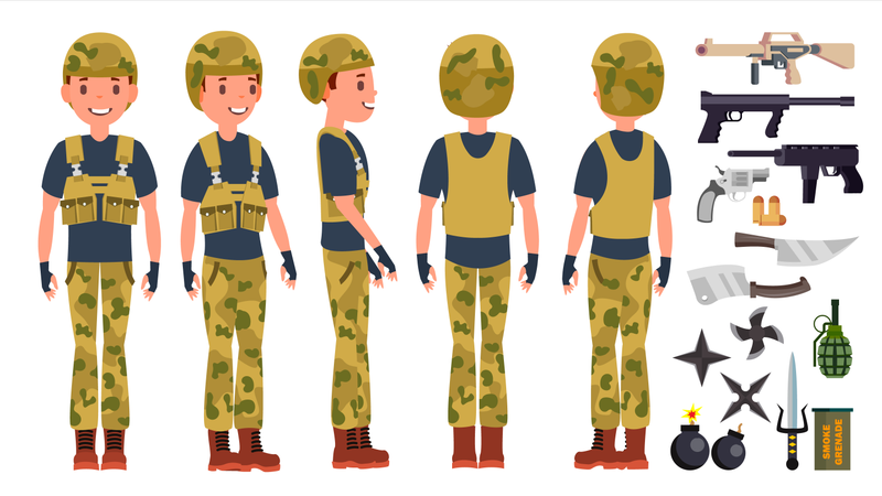 Young Army Soldier Man With Different Pose Illustration