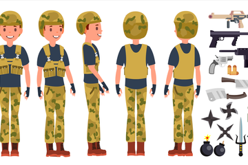 Soldier Male Illustration Pack