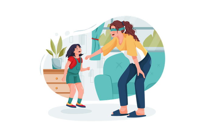 Young babysitter playing funny game with kid girl at home Illustration