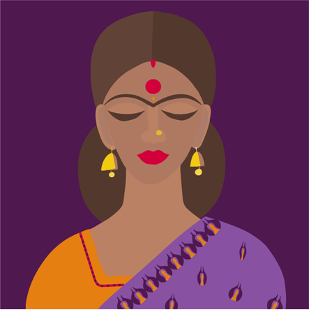 Young beautiful cartoon style Indian woman in traditional clothes sari and dupatta Illustration