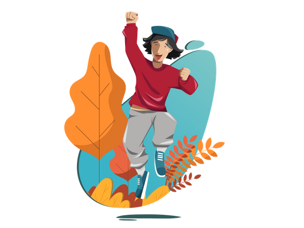 Young boy celebrating his success Illustration