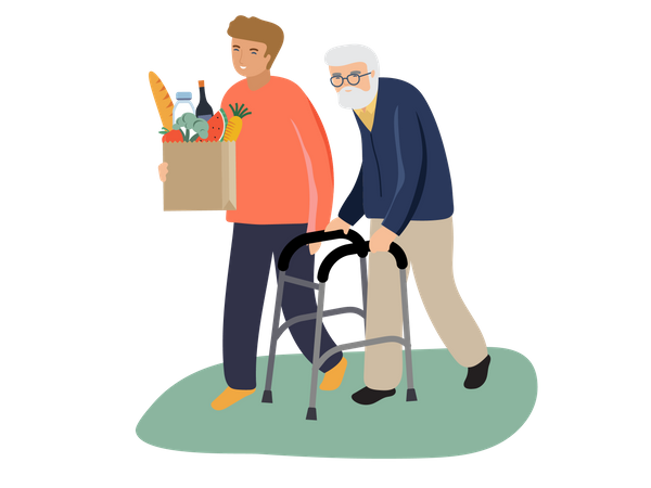 Young boy helping old man Illustration