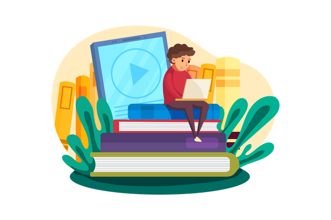 Young boy learning on laptop Illustration