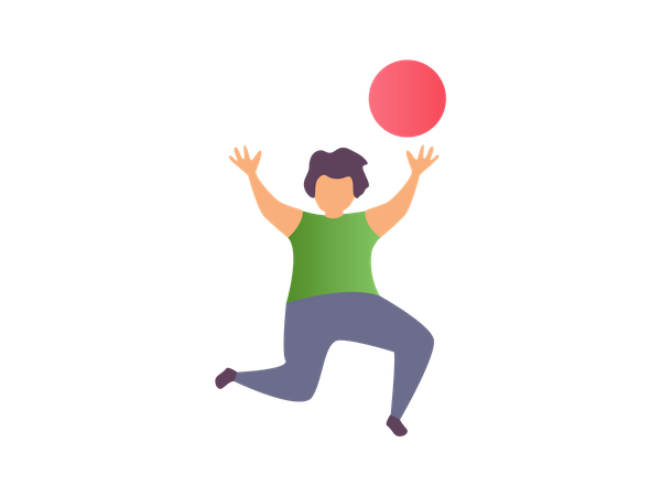 Young boy playing with ball Illustration